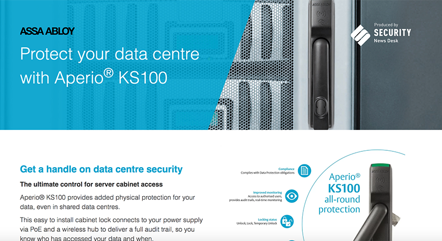 Protect your data centre with Aperio® KS100 from ASSA ABLOY